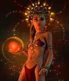 Fire Lumi, 3d CG. 3d computer graphics of a  little fairy with illuminated headdress, jewelry and sphere Stock Image