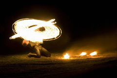 Fire magic. At a fire show in the night Stock Images