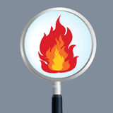 Fire magnify. Search fire,fire and magnifier Stock Image