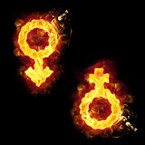Fire Male Female Signs Stock Photos