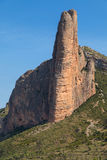 Fire, Mallos de Riglos. The rock formation Fire in Mallos de Riglos, Hoya de Huesca, Aragon, Spain Stock Images