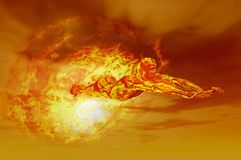 Fire man. Man flying through atmosphere and fireball Royalty Free Stock Photo