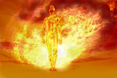 Fire man. Man proudly walking forward through fire ball Royalty Free Stock Images