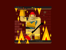 Fire man character with baby. Salvation and firefighter, flat vector illustration Stock Image