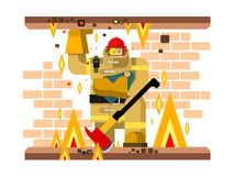Fire man character with baby. Salvation and firefighter, flat vector illustration Stock Photos