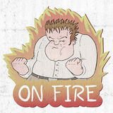 On fire man. Creative design of angry man draw Royalty Free Stock Photo