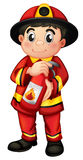 A fire man holding a fire extinguisher Royalty Free Stock Images