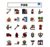 Fire management filled outline design icon set. royalty free illustration
