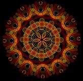 Fire mandala on a dark background. Fire circle mandala on a dark background Stock Photos
