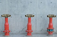 Fire manifold. For fire fighting near building Stock Photos