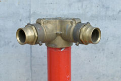 Fire manifold. For fire fighting near building Royalty Free Stock Photography