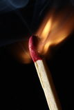 Fire - Match Burning Stock Photo