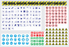 Fire medical navigation prohibition danger safety signs set. Fire medical navigation prohibition danger safety icons set Stock Photos