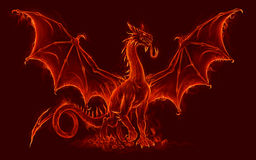 Fire medieval dragon Stock Photo