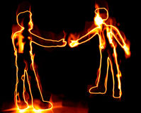 Fire Men. Unique illustration of two hot men on fire shaking hands Royalty Free Stock Photography