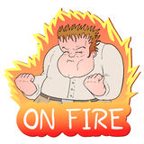 On fire message. Creative draw of rebel man Royalty Free Stock Photo