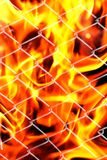 Fire in a metal grid. Photo of an abstract texture Stock Images
