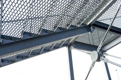 Fire metal ladder. grooved steps notch anti-skid.  royalty free stock image