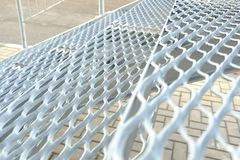 Fire metal ladder. grooved steps notch anti-skid.  royalty free stock images