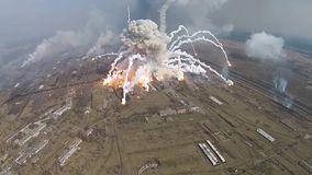 Fire at a military warehouse stock footage