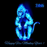 Fire Monkey. In blue color. New Years Banner design on black Royalty Free Stock Image