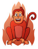 Fire Monkey Cartoon Animal Character. Vector Illustration Stock Image