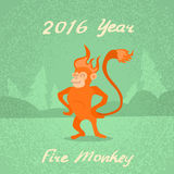 Fire Monkey Cartoon Character Retro New Year 2016. Flat Vector Illustration Stock Photos