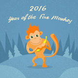 Fire Monkey Cartoon Character Retro New Year. Flat Vector Illustration Royalty Free Stock Photography