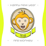 Fire Monkey Five. Colored Christmas emblem with fiery monkey on a white background, hand-drawn Royalty Free Stock Photos