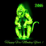 Fire Monkey. In green color. New Years Banner design on black Stock Image