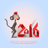 Fire monkey-hipster with 2016 lettering. Sign of New 2016 year of Chinese lunar calendar. Dark monkey-hipster on a light background Royalty Free Stock Images