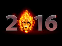 Fire Monkey. New Year Twenty-Sixteen: metal numerals with Fire Monkey Head instead of zero Stock Photography