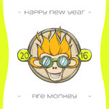 Fire Monkey One. Colored Christmas emblem with fiery monkey on a white background, hand-drawn Royalty Free Stock Photo