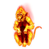 Fire Monkey. The Red Fire Monkey. New Years Banner design on white Stock Image