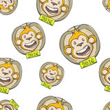 Fire Monkey Seamless Texture Three. Seamless texture of the fire monkey on a white background Royalty Free Stock Photo