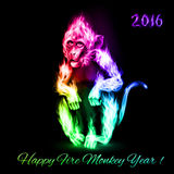 Fire Monkey. In spectrum colors. New Years Banner design on black Royalty Free Stock Image