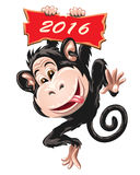 Fire Monkey. Symbol 2016. Illustration in cartoon style.  on white Royalty Free Stock Image