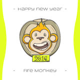 Fire Monkey Three. Colored Christmas emblem with fiery monkey on a white background, hand-drawn Stock Images