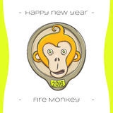 Fire Monkey Two. Colored Christmas emblem with fiery monkey on a white background, hand-drawn Royalty Free Stock Photography