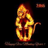 Fire Monkey. Year Of The Red Fire Monkey. Greeting Card on black background Royalty Free Stock Images