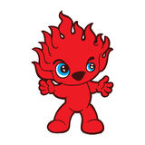 Fire monster. Cute red monster with flame body Stock Photo