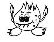 Fire monster with sharp teeth. Fairy tale monster with sharp teeth, big eyes, fire hands, head and feet Stock Image