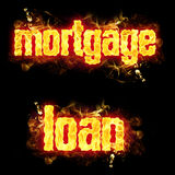 Fire Text Mortgage Loan. Mortgage loan words in blazing flames Royalty Free Stock Image