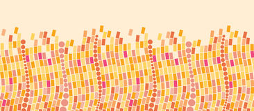 Fire mosaic tiles horizontal seamless pattern Stock Photo