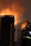 Fire At Moscow City Skyscraper. Fire on upper two floors of unfinished Federation Tower in Mocsow City business district 2012.04.02 Royalty Free Stock Photography