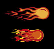 Fire moto sign. Vector red flames motorcycle style on black Royalty Free Stock Photos