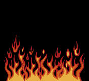 Fire moto sign. Vector red flames motorcycle style on black Stock Photos