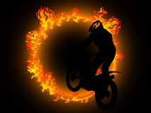 Fire and motorcyclist Royalty Free Stock Photography