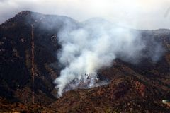 Fire and Mountain. Forest fire below Pikes Peak October 2007 Stock Photos