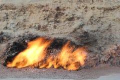 Fire mountain in Baku stock photography